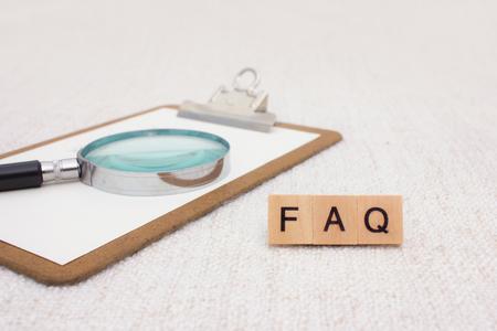 spelled: FAQ spelled with wood blocks Stock Photo