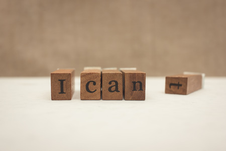 cant: Motivation concept: Changing I cant into I can Stock Photo