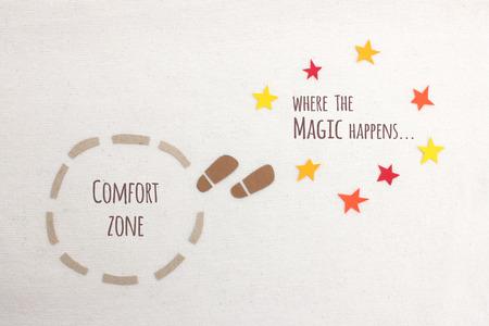 magia: zona de confort vs donde sucede la magia Foto de archivo