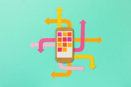 mobile apps: Mobile phone illustration with arrows  - bright paper illustration for mobile marketing, social media, mobile apps development