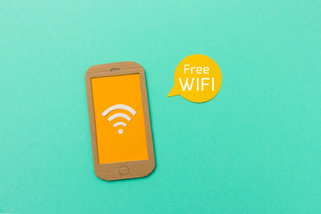 wifi access: Free wifi sign with smartphone and signal icon - image with space for text to add your wifi access information