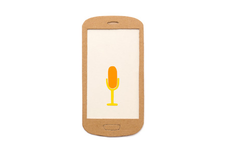 phone symbol: Microphone symbol on smart phone - concept for voice recording app, speech recognition, broadcasting - isolated Stock Photo