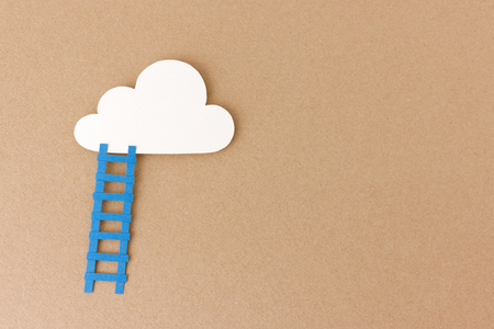 quota: Ladder leading up to cloud - reach your goals and dreams- inspirational image with space to add your motivational quote
