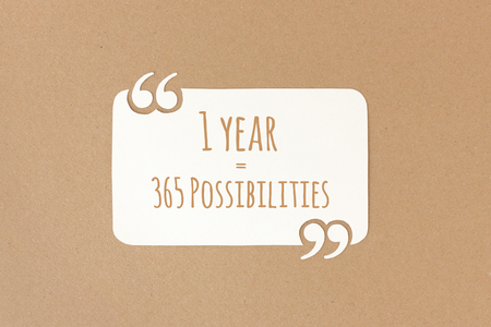 possibilities: 1 year = 365 possibilities - motivational quote on hand-cut recycling paper