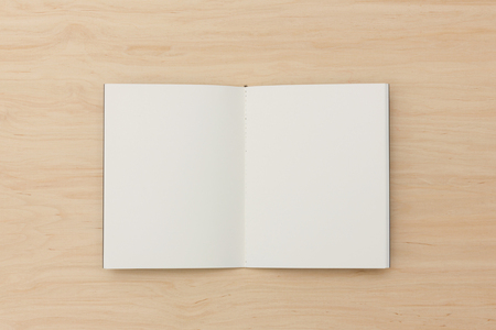 Top view of open notebook with two blank pages on light wooden background