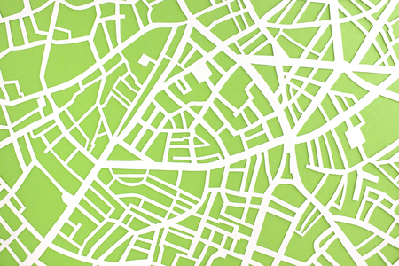 City map structure - handcut paper street map
