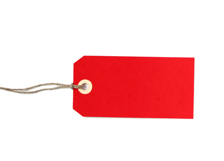Red shipping tag isolated on white Stock Photo