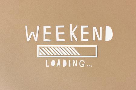 weekday: Happy weekend - handmade paper collage Stock Photo