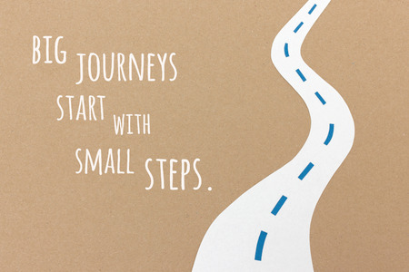 encouraging: Big journeys start with small steps - handmade paper collage quote