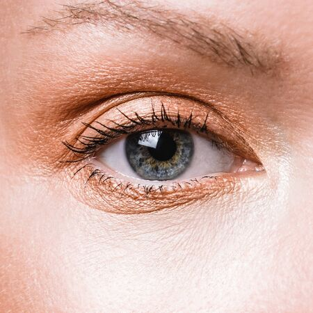 Close-up female blue gray eye with bronze gold eye shadow make-up.