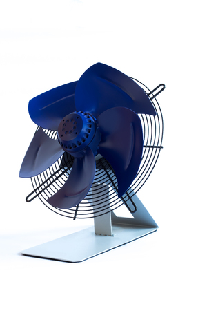 Industrial air ventilation fan on white background closed up. Isolated on grey stand.