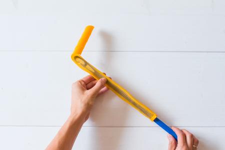 Magic leverag curlers. Hair extension through hair orange curlers