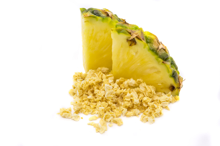 Freeze dried and fresh pineapple ananas on a white background. Lyophilization. Food for astronauts. Isolated Фото со стока
