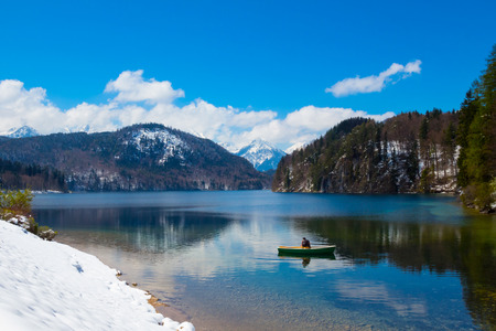 Winter view of Alpsee lake in Germany. Beautiful. Stock Photo