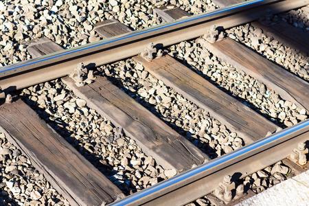 closeup railway, diagonally horisontal sunny Imagens
