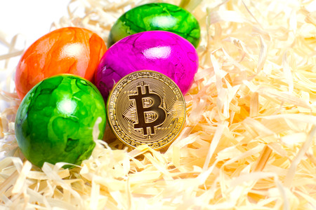 Background of colored eggs and bitcoin on packing straw. Closed up. Consept - Easter with bitcoin.