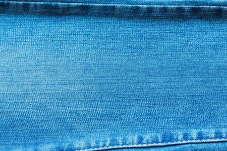 Jeans denim texture with seams on top and bottom, background, texture.