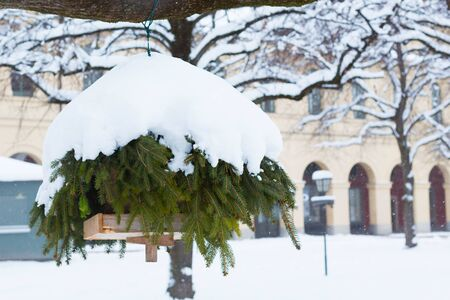 Wooden house feeder with a roof made of fir branches under the snow. Stock Photo