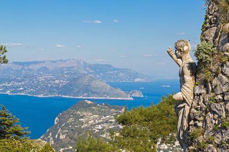 Panorama of Capri island from Monte Solaro, Capri, Italy. 스톡 콘텐츠 - 131951995