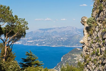 View of sea and garden from mount Solaro of Capri island, Italy.