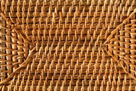 Round placemat texture closeup or Bamboo bag. Natural macro background. Bamboo macro. Archivio Fotografico - 139764191