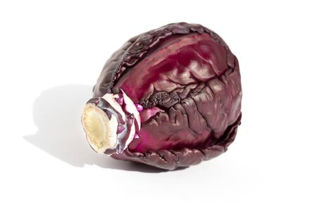 A head of purple cabbage, isolated, with shadow.
