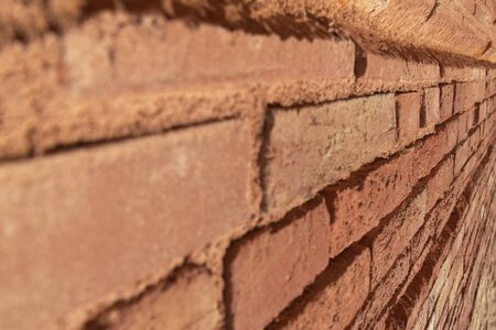Background of closed up red brick wall texture. Angle view, oblique view. selective focus, texture, background