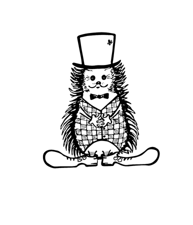Cartoon hedgehog character in hat, vest, bow-tie and boots. Vector hand drawn illustration.