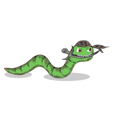 crawling creature: Cartoon ninja worm with dagger, isolated vector (Eps 10), hand drawn on a white background