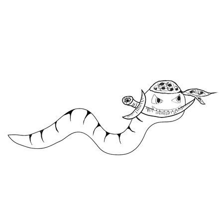 Cartoon clip-art ninja worm met dolk, geïsoleerde vector (Eps 10), hand getrokken op een witte achtergrond Stock Illustratie