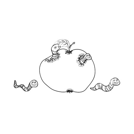 lombriz de tierra: Cartoon black ink worms eating apple and crawling, isolated vector (Eps 10), hand drawn on a white background