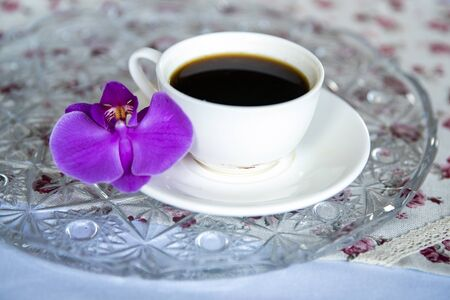 Little happiness - a morning cup of coffee ... Freshly ground, some milk and a drop of syrup