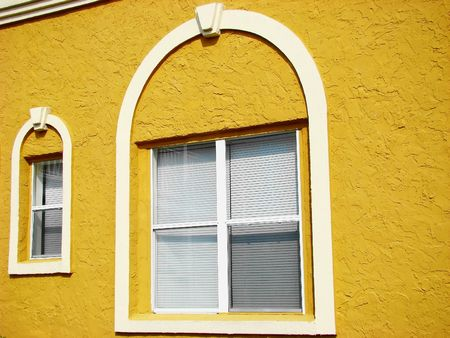 arched: Yellow arched windows Stock Photo
