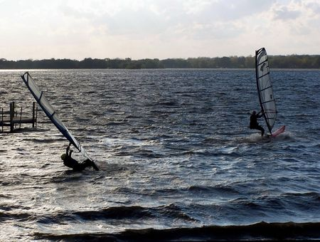 water skiing: Windsurfers