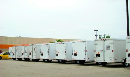Trailers for rent Stock Photo