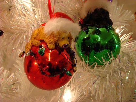 Dog Christmas ornaments Stock Photo