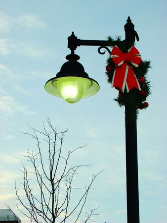 Christmas decorated light post