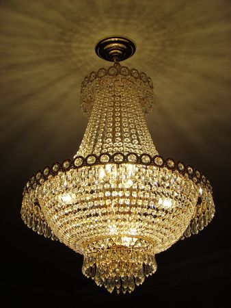 chandelier: Crystal chandelier Stock Photo