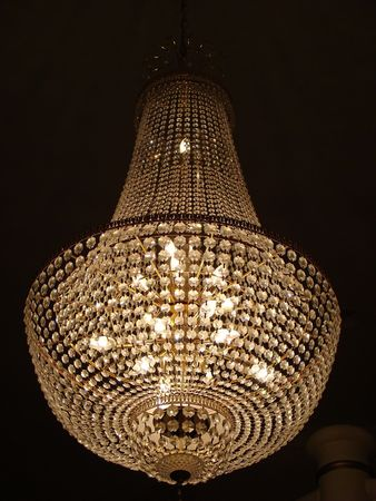 fixtures: Crystal chandelier Stock Photo