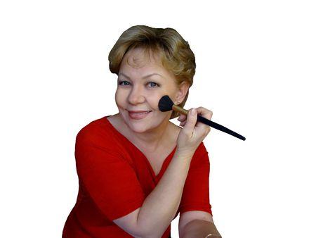 mujer maquillandose: Mujer aplicaci�n de maquillaje