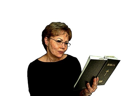 Cartoon illustration of a woman reading the bible illustration