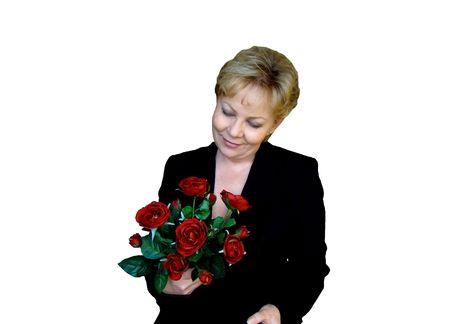 Woman with red roses photo