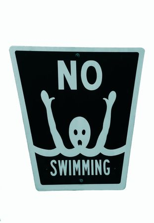 warned: No swimming sign