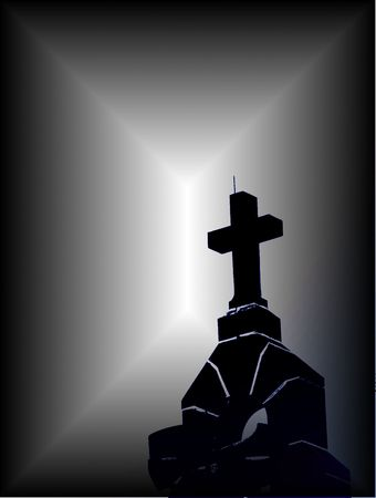 Digital illustration of the cross on the top of a church, photo in black and white