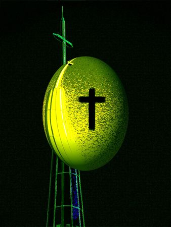 digital illustration of the cross and the egg of life