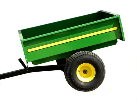 trailer: Stock photo print of a green agriculture mini trailer, isolated over white