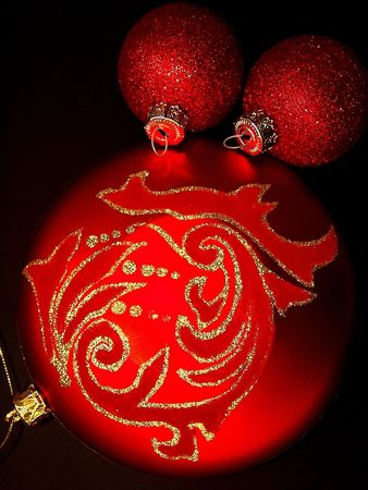 free stock: Free stock photo of red christmas ornaments, isolated over black, perfect for greeting cards Stock Photo