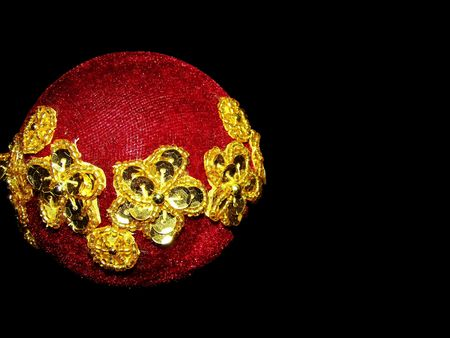 free stock: Free stock photo of a single red christmas ornament embellished with gold, isolated over white