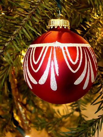 Oil painting illustration of a red Christmas ornament hanging on the tree Stock Photo
