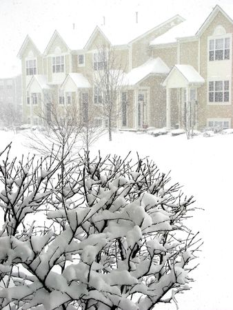 townhome: Royalty free photo of winter snow storm in the neighborhood